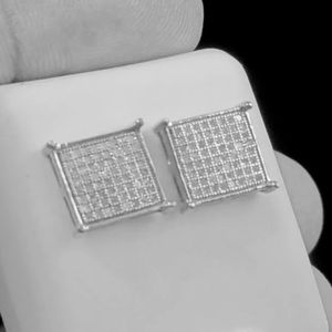 Other - REAL DIAMOND White Gold Silver Men Earrings